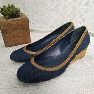 Tory Burch Wicker Wedge Blue Heel Size 8M